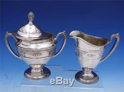 Rose Point by Wallace Silverplate Tea Set 3pc #N6702 Tea Pot Sugar Creamer #3172