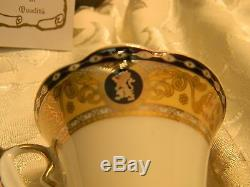 Rosecoten Tea Set Of 6 Gold And Blue