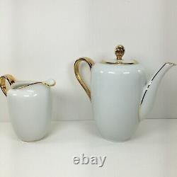 Rosenthal Helena Tea SetPot, Cups/Saucers, Creamer, Sugar Bowl White WithGold Trim