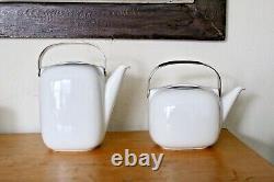 Rosenthal Suomi Sarpaneva Vtg Platinum Band Tea Coffee Pot Bowl Pitcher Set Mcm