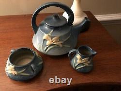 Roseville Pottery Bermuda Blue Zephyr Lily Teapot, Open Sugar Bowl & Creamer Set