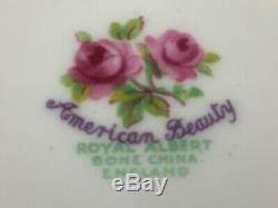 Royal Albert American Beauty Teapot Creamer Sugar Bowl Tray 2 Cups Saucers Set