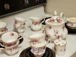 Royal Albert Bone China England Lavender Rose Tea Set, Teapot, Cups/Saucers