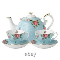 Royal Albert COUNTRY ROSE POLKA BLUE TEA SET -TEA POT CREAMER COVERED SUGAR NEW