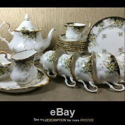 Royal Albert England 23 pc TEA SET Royal Ascot BLACK teapot trivet cups plates