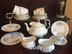 Royal Albert Haworth White Blossom Tea set for six with teapot