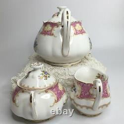 Royal Albert Lady Carlyle Tea Set Teapot Sugar Creamer Lids Bone China Floral