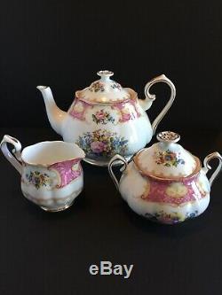 Royal Albert Lady Carlyle Teapot Set w Creamer & Sugar Bowl 1944 MINT Condition