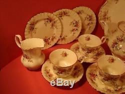 Royal Albert Lavender Rose Pattern, 22 Piece Tea Set, Includes Teapot, 1st Qlty