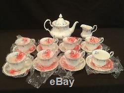 Royal Albert Memory Lane Tea Set Teapot Creamer 8 Cup And Saucers