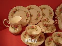 Royal Albert Moss Rose, 22 Piece Tea Set, Includes Large Teapot