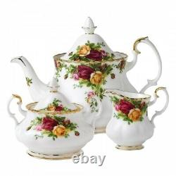 Royal Albert Old Country Roses 3-Piece Tea Set. Tea Pot, sugar, & creamer