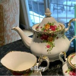 Royal Albert Old Country Roses 3-Piece Teapot Cup Creamer Tea Set