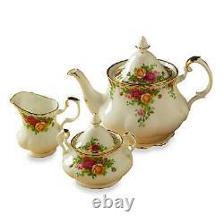 Royal Albert Old Country Roses Completer Tea Set Teapot Creamer Sugar Bowl New