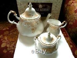 Royal Albert Old Country Roses GOLD Tea Pot, Cream Pitcher & Sugar Bowl Set NIB