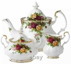 Royal Albert Old Country Roses Tea Completer Set Teapot Creamer Sugar 3 PC NEW