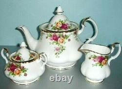 Royal Albert Old Country Roses Teapot-Sugar-Creamer 3 PC. Tea Completer Set New