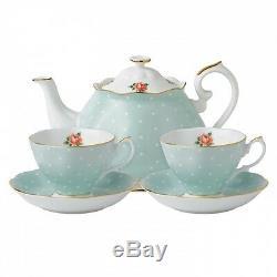 Royal Albert POLKA ROSE Tea For Two Teapot 2 Cups & Saucers Tea Set NEW / BOX
