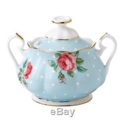 Royal Albert Polka Blue Vintage Teapot & Covered Sugar 2 Piece Set LAST ONE