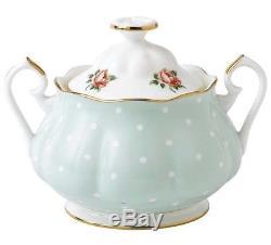 Royal Albert Polka Rose 3 PC Tea Set Teapot Sugar Bowl & Creamer New Boxed