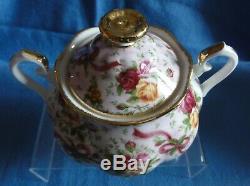 Royal Albert RUBY CELEBRATION 2002 TEA SET PINK CHINTZ Old Country Rose teapot +