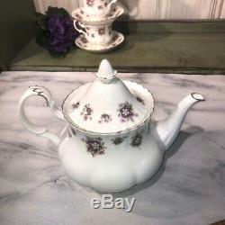 Royal Albert Sweet Violets Tea Set 13 Piece Excellent with Teapot