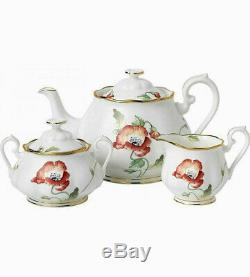 Royal Albert Tea Set Teapot Sugar Bowl Cream Jug 1970's Poppy New 100 Years