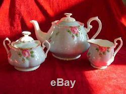 Royal Albert Tea Set Teapot Sugar Bowl Cream Jug Polka Blue Brand New Unused