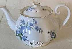 Royal Albert Teapot with Cups Saucers Blue Floral Forget Me Not Bone China Tea Set