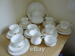 Royal Albert Val D'Or Tea Set inc Tea Pot White & Gold 25 Pieces