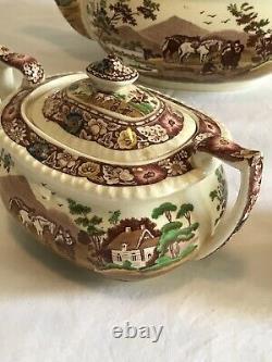 Royal Cauldon Transferware Tea Set, NATIVE, Sugar, Creamer, Teapot