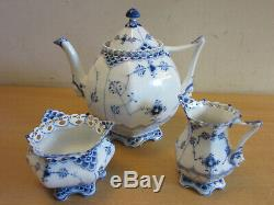 Royal Copenhagen Tea Set Blue Fluted Full Lace w Face 1119 Tea pot creamer Sugar