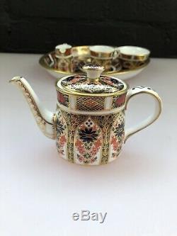 Royal Crown Derby Imari 1128 5 Piece Miniature Tea Set 1128 Teapot Jug Tray Cup