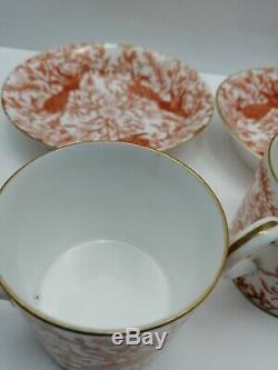 Royal Crown Derby Peacock red bachelor Tea/Coffee Set Miniature Teapot antique
