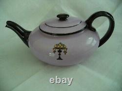 Royal Doulton china tea set lilac & black w oranges teapot cr sug 6 cups plates