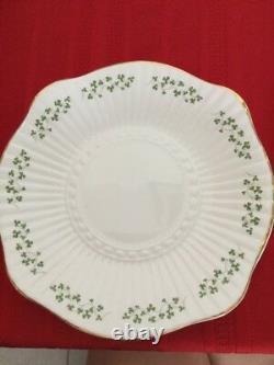 Royal Tara Shamrock Teapot Mugs(4) Saucer Bowl Cake Plate Ireland China Set 10