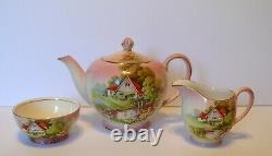 Royal Winton Grimwades Pink Red Roof Teapot Creamer Sugar Bowl Set