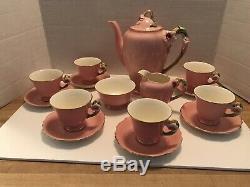 Royal Winton Pink Petunia Tea Set Teapot, Cream/sugar, 6 Cup/saucers