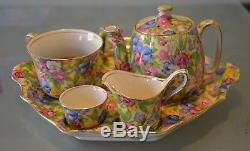 Royal Winton Sweet Pea Breakfast Set Teapot Toast Rack Egg Cup Tray Milk Jug
