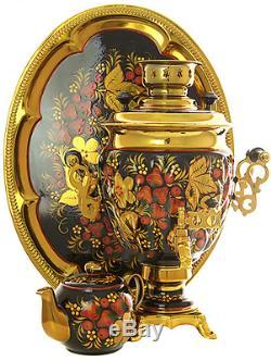 Russian Electric Samovar Tray Teapot Set Khokhloma redhead for 110 volts