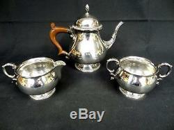 SERVICE SOLID SILVER 3-Piece Tea Set Teapot, Milk Jug and Sugar Bowl Gross 1030g