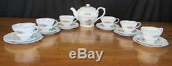 SHELLEY CROCHET TEA SET=BLUE TRIM=HENLEY SHAPE=1945-66=20 piece=Teapot=6 Trio's