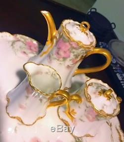 SPECIAL HAVILAND LIMOGES FEU DE FOUR DEMITASSE TEA POT SUGAR CREAMER SET With TRAY