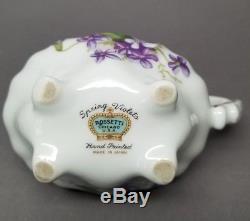 SPRING VIOLETS ROSSETTI Tea Set Teapot Sugar Bowl Creamer Hand Painted Japan