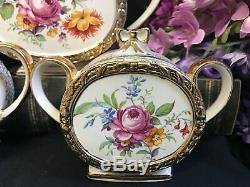 Sadler Barrel Shape Floral 3 Piece Tea set Includes Teapot Milk Jug Sugar Bowl
