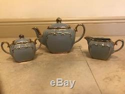 Sadler Blue Tea Set Cube Teapot Sugar Creamer Gold Trim 1922 Vintage RARE