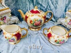 Sadler Burgundy/Red Floral China Teapot Tea Set With Matching Biscuit Barrel