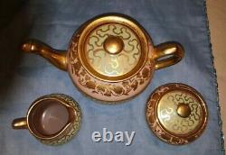 Sadler Pink Green and Gold Teapot, Cream and Sugar Set # 1558