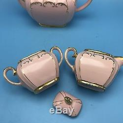 Sadler Pink Tea Set Cube Teapot Lidded Sugar Creamer Gold Trim 7 x10 1922