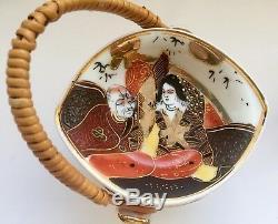 Satsuma Moriage Gilded Tea Set. Japanese Legendary Motifs of 7 Gods of Fortune